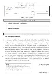 English Worksheet: 8th Grade Test on the topic Leisure activities