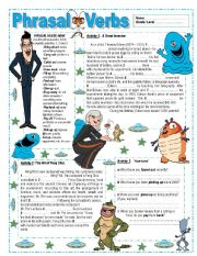 English Worksheet: Phrasal Verbs - Key included