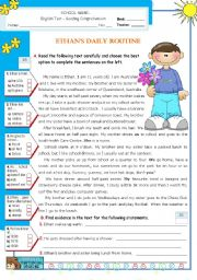English Worksheet: Ethan�s  Daily  Routine  -  Reading Test