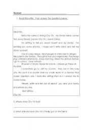 English Worksheets: 1.Read this letter.  Then answer the questions below.