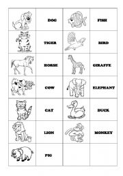 English Worksheet: Animals Memory Game