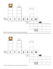 English Worksheet: Crossword: Parts of the face