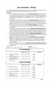 English Worksheets: Peer Evaluation of Writing