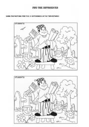 English Worksheets: Find the differences and describe the pictures, prepositions activity