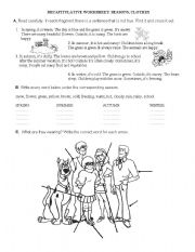 English Worksheet: Exercises - seasons and clothes
