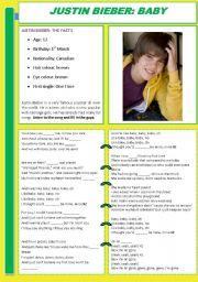 English Worksheets: Justin Bieber: Baby