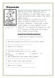 English Worksheet: Tennis