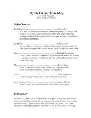 My Big Fat Greek Wedding Worksheet