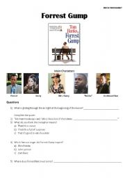 English Worksheets: Forrest Gump - Movie Worksheet