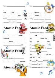 Atomic food lyrics and activities - ESL worksheet by Entropy