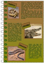 English Worksheet: READING COMPREHENSION about reptiles (version 1)
