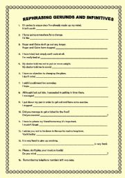 English worksheet: REPHRASING WITH GERUNDS AND INFINITIVES- KEY