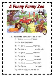 English Worksheets: The Funny Funny Zoo (comprehension and prepositions) 2 Pages