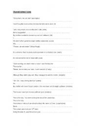 English Worksheets: transformations - 3 pages