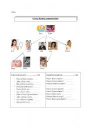English worksheet: Reading comprehension, family
