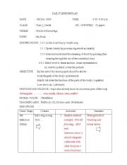 English Worksheet: Daily lesson plan year 3
