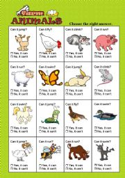 English Worksheets: FARM ANIMALS + CAN /CAN�T TEST