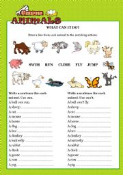 English Worksheet: FARM ANIMALS - What can it do?