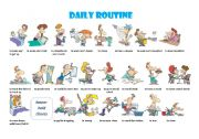 English Worksheets: DAILY ROUTINE PICTIONARY