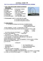 English Worksheet: London landmarks (listening)