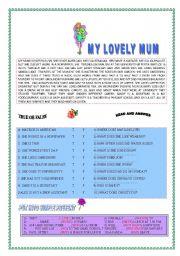 English Worksheets: MY LOVELY MUM