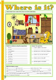 English Worksheet: Where is it? - Prepositions of place