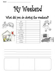 English Worksheets: My weekend