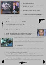 English Worksheets: Video: gun control debate after school shooting