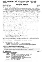 English Worksheets: Second year scientific stream exam in algeria