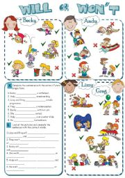 English Worksheet: WILL or WON´T (Future Simple) *2 pages, 8 tasks*