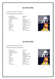 English worksheet: Accident Prone, Lady Gaga parody