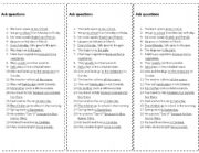 English Worksheets: Ask questions for intermediate students
