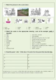 English Worksheet: Litter - reading poem