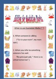 English Worksheet: Editing for Quotation Marks