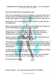 English Worksheets: Hatsune Miku - a 3-D Pop Star