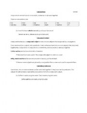 English Worksheets: Conjunctions and Compound Subjects