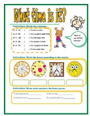 What time is it? (B&W + Answer Key)