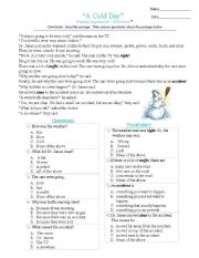 English Worksheets: a cold day