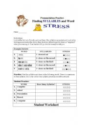 Finding Syllables and Word Stress-STUDENT WORKSHEET