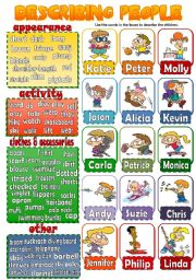 English Worksheet: DESCRIBING PEOPLE 3 (children) *speaking activity*