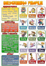 English Worksheet: DESCRIBING PEOPLE 3 (children) *speaking activity*