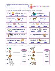 English Worksheet: SOUNDS OF ANIMALS