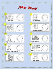 ... worksheets > Actions > Daily routines > My Day - Time & Daily Routine