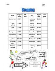 English teaching worksheets: Going shopping