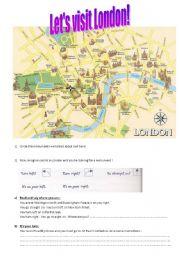 English worksheet: Let´s visit London!  A Map ( 1/4)