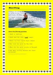 English Worksheet: Surfing
