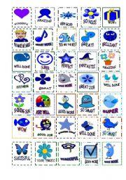 English Worksheet: blue stickers