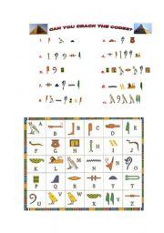English Worksheets: hieroglyphics code
