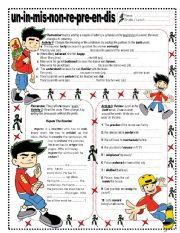 English Worksheet: Prefixes  un - in - mis - non - re - pre - en  & dis . Key included
