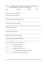 English worksheet: Quiz-wh questions and passive voice